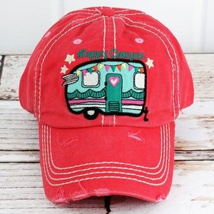 NWT - Distressed Salmon Colored Happy Camper Cap